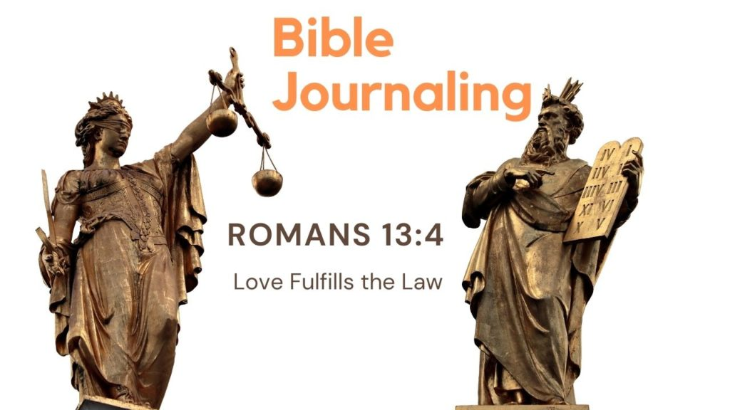 Lady Justice next to Moses holding the ten commandments