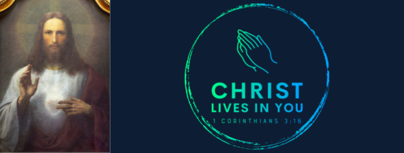 An image of Christ next to the logo for Christ Lives in You